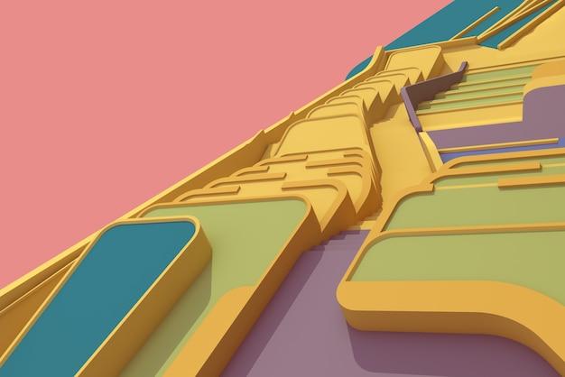Ilustración 3d, arquitectura, piso, escaleras