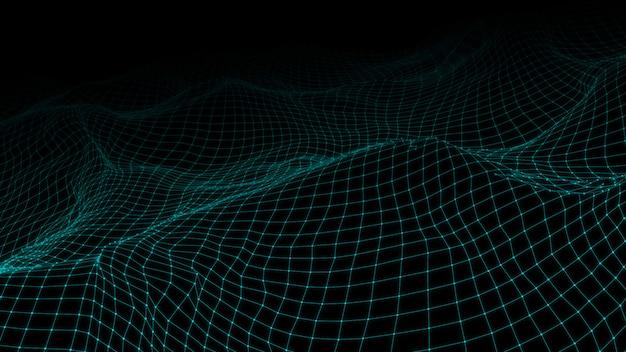 Ilustración 3d de baja poli con líneas y puntos conectados