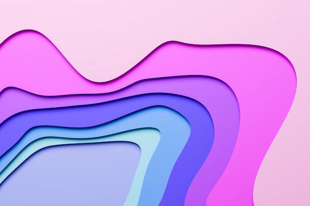 Ilustración 3d de una banda estéreo de diferentes colores. rayas geométricas similares a ondas. resumen neón rosa y azul que brilla intensamente