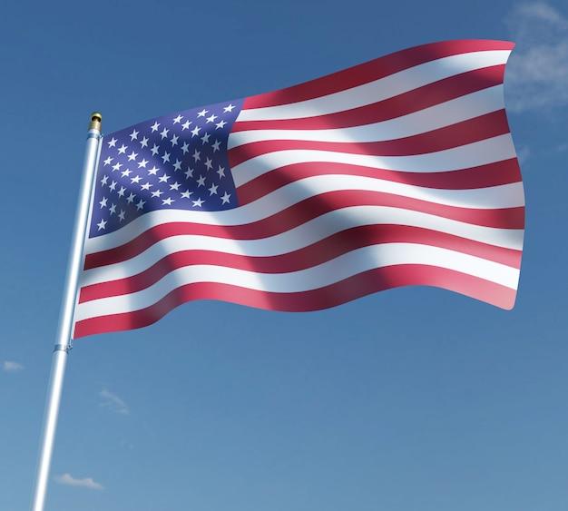 Ilustración 3d de la bandera americana en el cielo azul