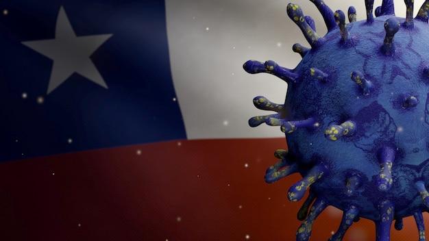 Ilustración 3d bandera chilena ondeando con brote de coronavirus que infecta el sistema respiratorio como gripe peligrosa. virus influenza covid 19 con pancarta nacional de chile en segundo plano. riesgo de pandemia