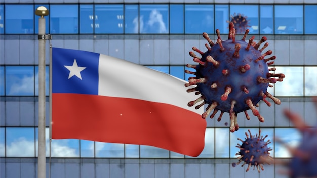 Ilustración 3d bandera chilena ondeando en la moderna ciudad de rascacielos con brote de coronavirus. hermosa torre alta y virus de influenza covid 19 con pancarta nacional de chile ondeando