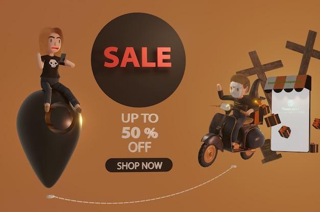 Ilustración 3d. banner de promoción de venta de halloween con una oferta de descuento para dar un vale, pancarta, póster o fondo, arte en papel y estilo artesanal, concepto de compra en línea.