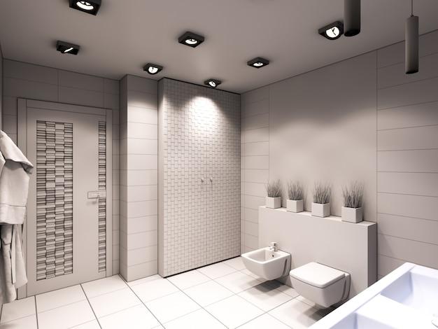 Ilustración 3d del baño sin color ni texturas.