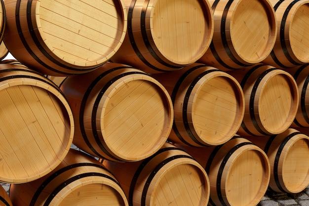 Ilustración 3d barriles de madera vino. bebida alcohólica en barriles de madera, como vino, coñac, ron, brandy.