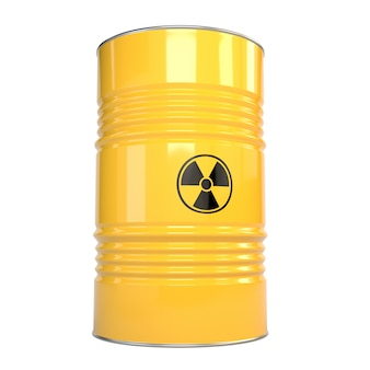 Ilustración 3d de barriles de metal amarillo con contenido de radiación y señal de radiación.