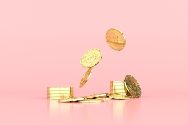 Ilustración 3d de bitcoin criptomoneda. moneda futura.