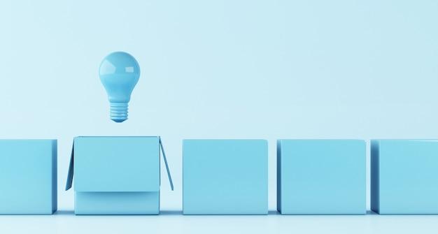 Ilustración 3d bombilla. idea y pensar fuera del concepto de caja.