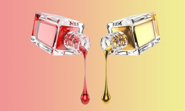 Ilustración 3d de botella de vidrio cosmético con gotas de oro y rojo
