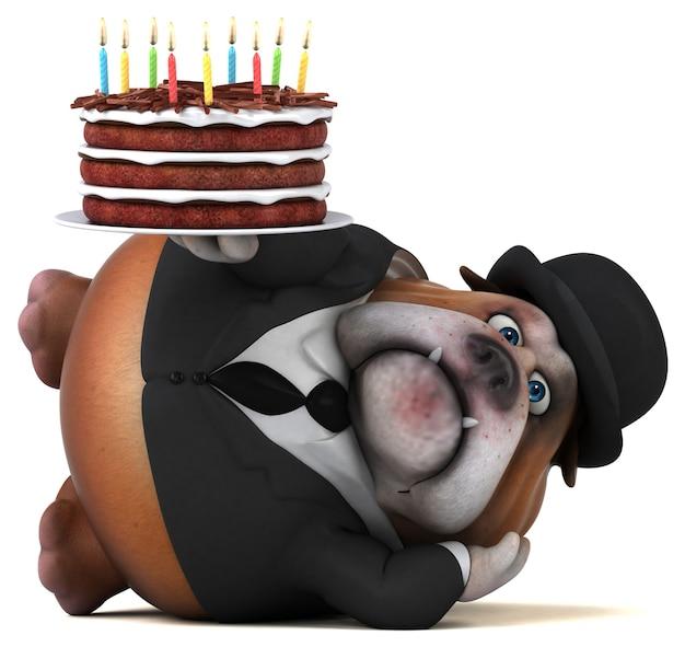 Ilustración 3d de bulldog divertido