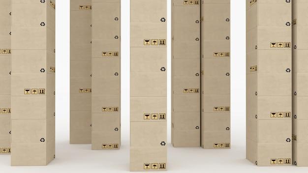 Ilustración 3d de buzones de correos perfectamente apilados en una fila