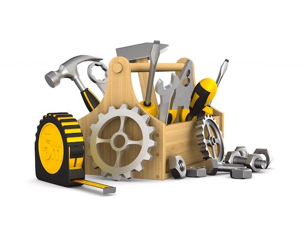Ilustración 3d de caja de herramientas