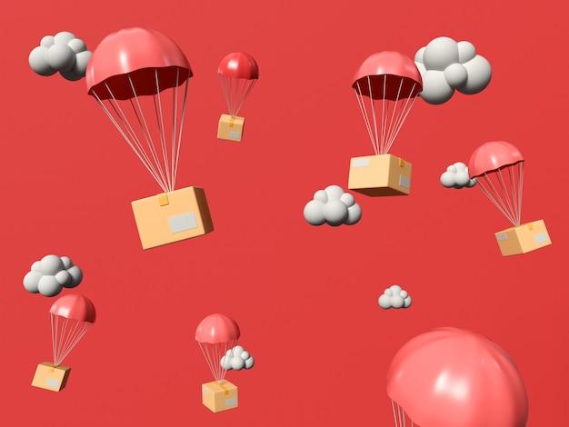 Ilustración 3d. cajas de regalo volando en el cielo con paracaídas. concepto de servicio de compras y entrega en línea.