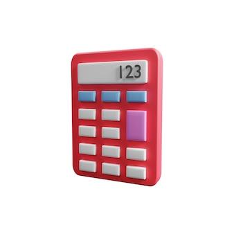 Ilustración 3d de la calculadora aislada en el fondo blanco. concepto de contabilidad con ilustración de calculadora 3d