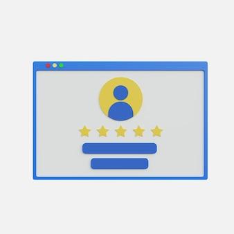 Ilustración 3d de calificación de revisión de la web con icono de persona sobre fondo blanco