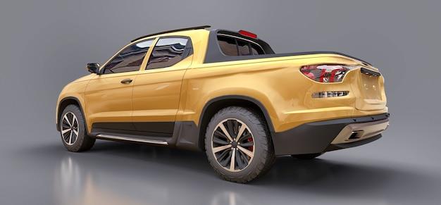 Ilustración 3d de la camioneta pickup de carga amarilla del concepto en la superficie aislada gris