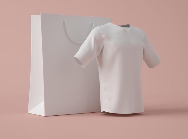 Ilustración 3d camiseta blanca en blanco con bolsa de compras.