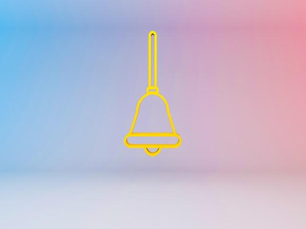 Ilustración 3d de campanas de navidad sobre un fondo degradado