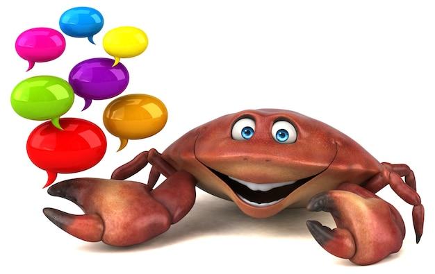 Ilustración 3d de cangrejo divertido