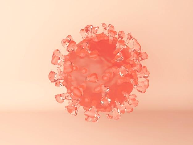 Ilustración 3d. una célula del virus del coronavirus en naranja. vista microscópica de un virus infeccioso.
