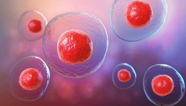 Ilustración 3d de células madre embrionarias, fondo de terapia celular.