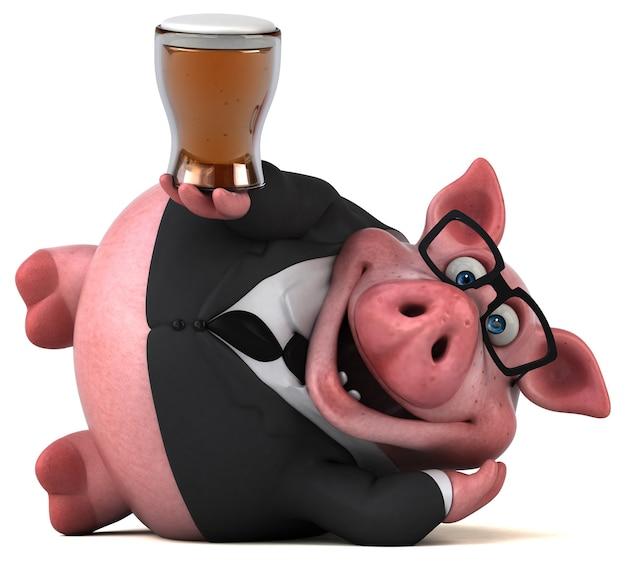 Ilustración 3d de cerdo divertido