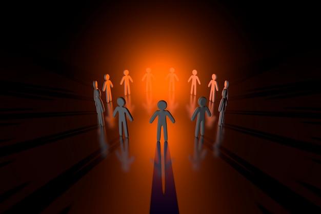 Ilustración 3d de un círculo de personas formando un equipo