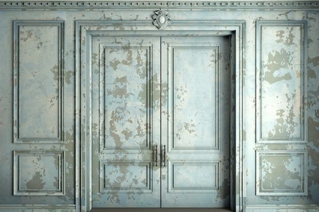 Ilustración 3d. clásico doble puerta clásica en la pared de viejos paneles de estuco pintura azul. carpintería en el interior.