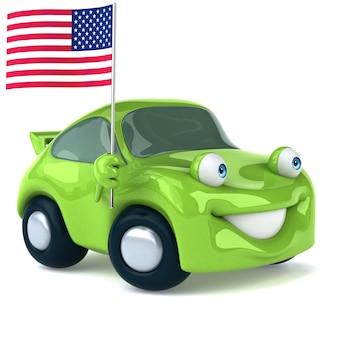Ilustración 3d de coche verde