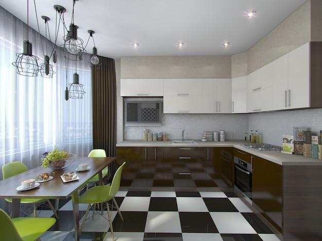 Ilustración 3d de cocina moderna en tonos marrón y beige.