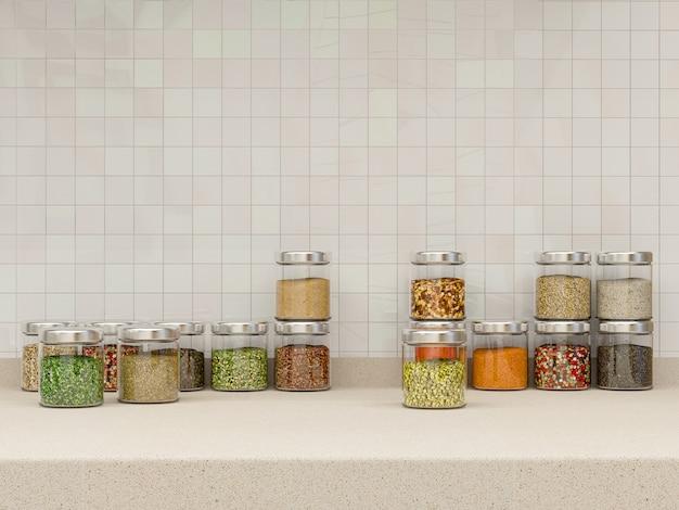 Ilustración 3d de una cocina en tonos beige