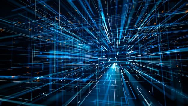 Ilustración 3d de código binario de datos de tecnología científica abstracta