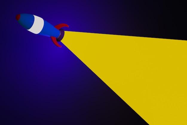 Ilustración 3d de un cohete azul de estilo de dibujos animados corriendo al espacio