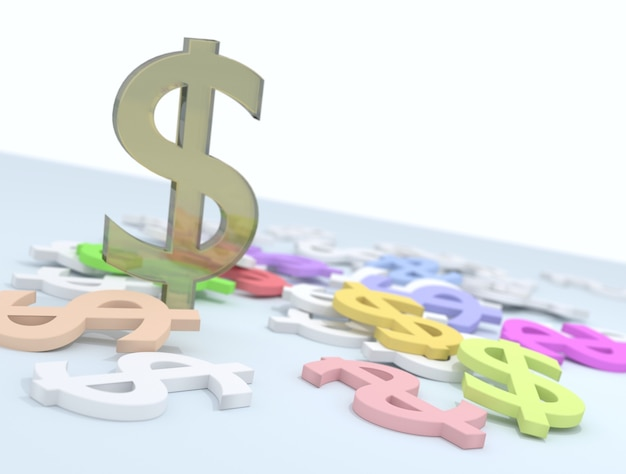 Ilustración 3d coloridos signos de dólar que yacen esparcidos sobre la superficie de color azul claro con p amarillo verticalmente