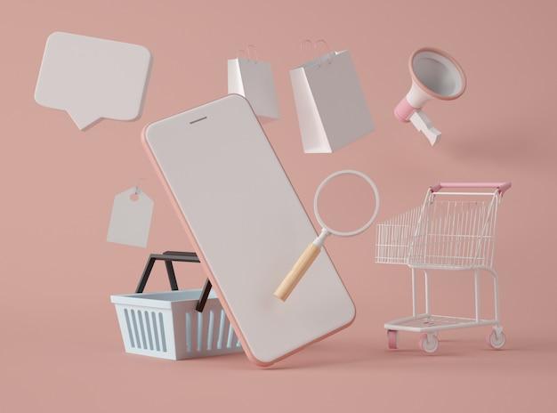 Ilustración 3d compre en línea y concepto de comercio electrónico.