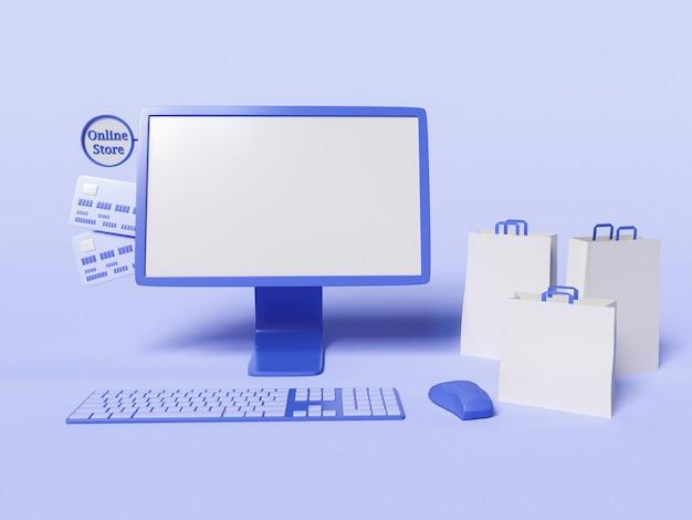 Ilustración 3d de computadora con bolsas de papel y tarjetas de crédito