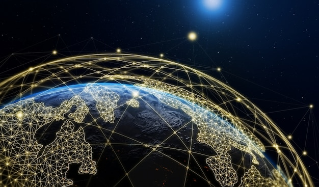 Ilustración 3d de comunicación creativa moderna global y mapa de red de internet