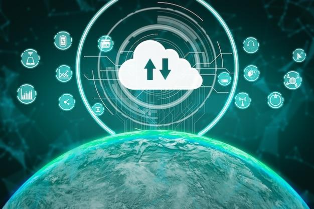 Ilustración 3d de comunicación internacional y red avanzada de internet.