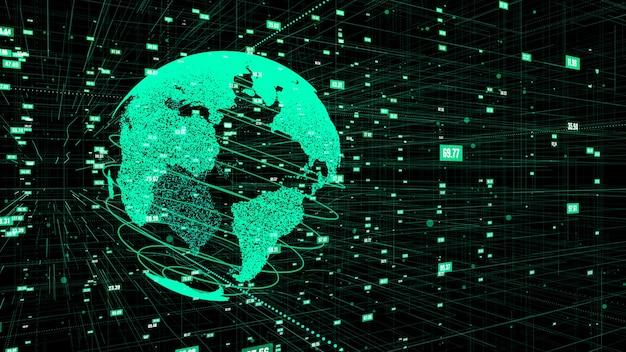 Ilustración 3d del concepto de red global de internet en línea