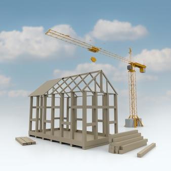 Ilustración 3d de la construcción de una casa de estructura con grúa sobre fondo de nubes. representación 3d