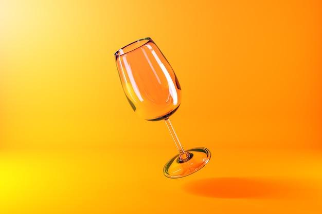 Ilustración 3d de copa de champán sobre una superficie amarilla