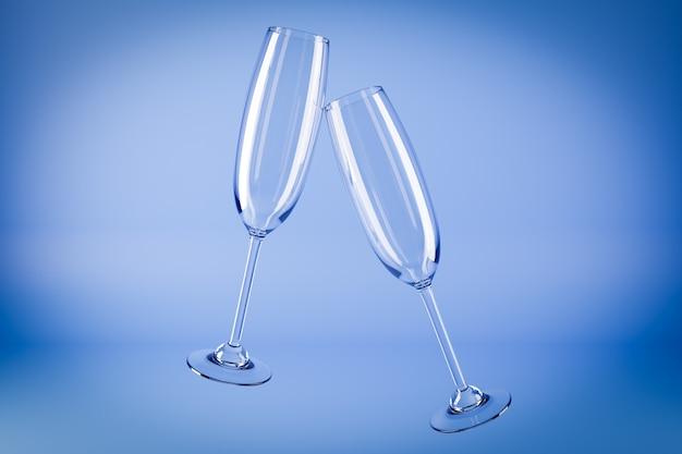 Ilustración 3d de copas de champán sobre una superficie azul.