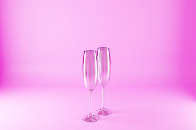 Ilustración 3d de copas de champán sobre una superficie rosa.