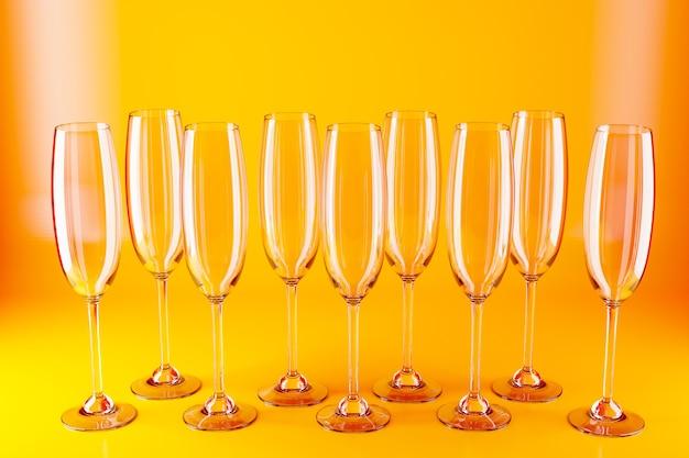 Ilustración 3d de copas de champán, vino sobre una superficie amarilla