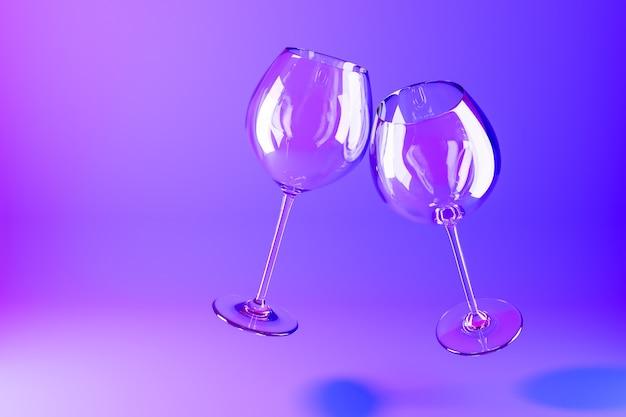 Ilustración 3d de copas de vino volando sobre una superficie púrpura.