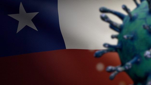Ilustración 3d de coronavirus de la gripe flotando sobre la bandera chilena, patógeno ataca el tracto respiratorio. bandera de chile ondeando con el concepto de infección por el virus covid19 pandémico. primer plano de la textura de la tela real alférez