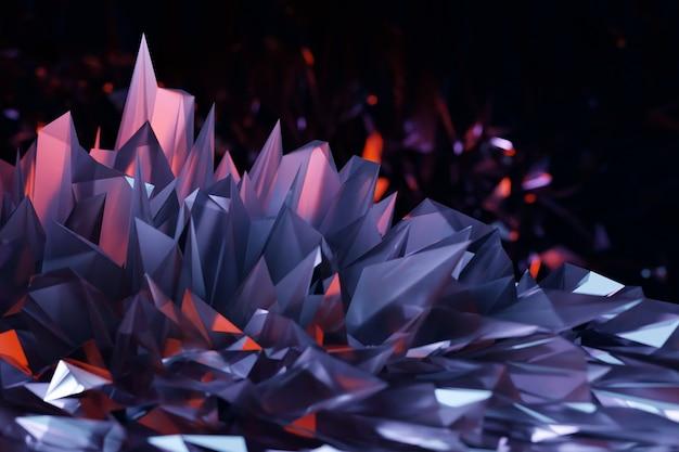 Ilustración 3d de cristal púrpura, efecto de luz de reflejos y refracciones. patrón de superposición de fondo.