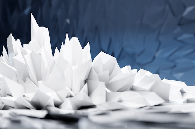 Ilustración 3d cristales blancos, piedras preciosas. línea de luz de lujo de patrón poligonal bajo abstracto con fondo