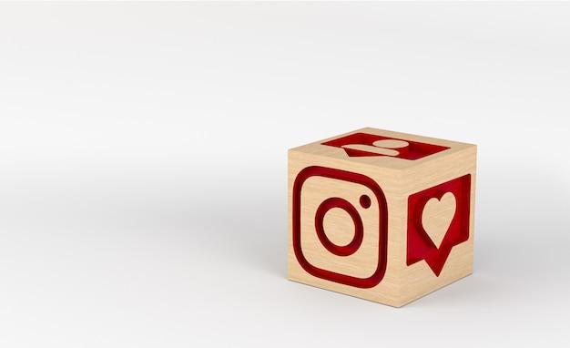 Ilustración 3d, cubos de madera con iconos de instagram tallados