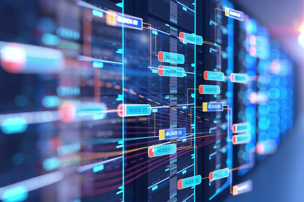 Ilustración 3d de la sala de servidores con elemento de diseño de datos de programación base nodo.